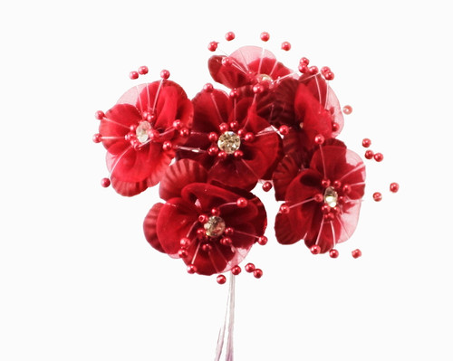 "1.5"" Burgundy Organza Flowers with Rhinestones - Pack of 72"