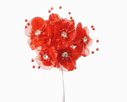 "1.5"" Red Organza Flowers with Rhinestones - Pack of 72"