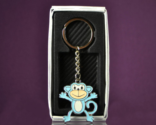 "4""  Blue Happy Monkey Metal Keychain - Pack of 12"