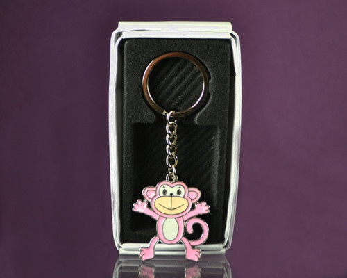 "4""  Pink Happy Monkey Metal Keychain - Pack of 12"