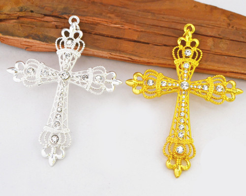 "4.5"" Metal Cross Pendant with Rhinestones - Pack of 6 Pieces"