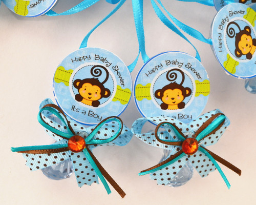 """2.5"""" Blue Monkey Plastic Baby Shower Pacifier Necklaces - Pack of 24"""