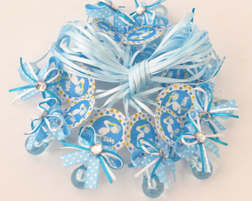 """2.5"""" Blue Stork Plastic Baby Shower Pacifier Necklaces - Pack of 24"""