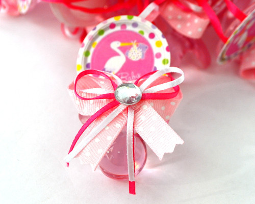 """2.5"""" Pink Stork Plastic Baby Shower Pacifier Necklaces - Pack of 24"""