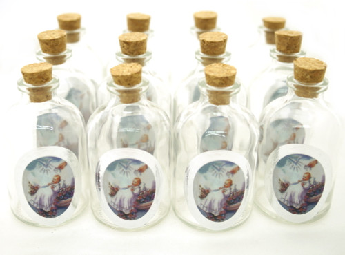 50ml Baptism Round Glass Bottle with Cork Top - Set of 12 Bottles