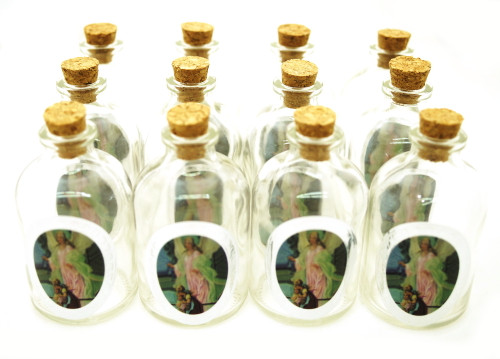 50ml Angel Round Glass Bottle with Cork Top - Set of 12 Bottles