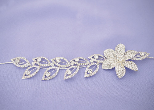 "10"" Silver Crystal Bridal Wedding Hair Band with Rhinestone Blooms and Leaves"