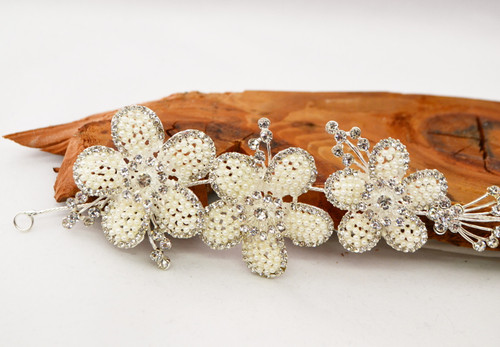 """10"""" Floral Ivory Pearl Bridal Hair Band with Rhinestones"""