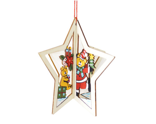 """3.5"""" Wooden Christmas Tree Ornament """"Christmas Bear"""" - Pack of 12"""