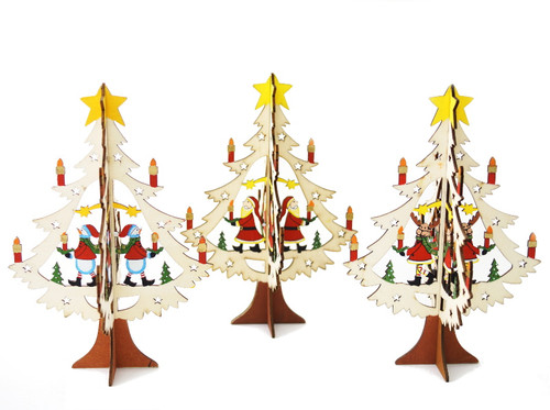 "8"" Assorted Wooden Christmas Decoration ""Christmas Tree"" - Pack of 12"