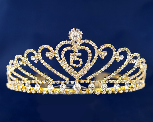 Gold Crystal Mis Quince Quinceanera Rhinestone Tiara (TX004)