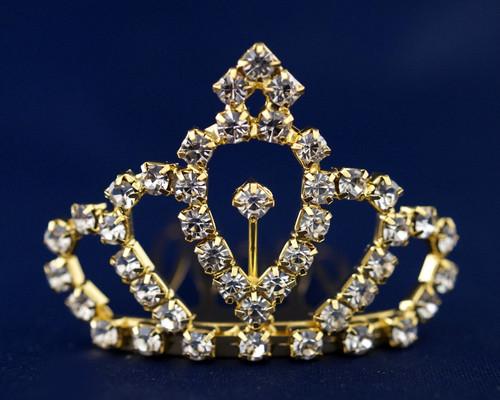 Gold Crystal Rhinestone Mini Tiara - Pack of 12 (TS002)