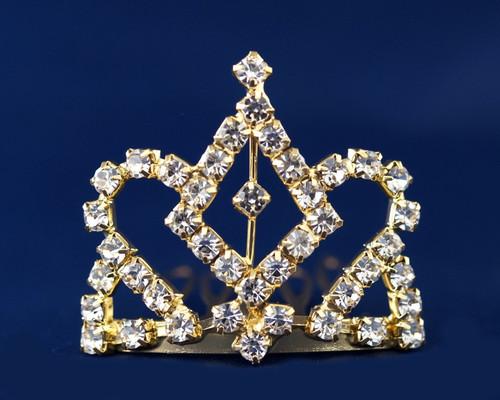 Gold Crystal Rhinestone Mini Tiara - Pack of 12 (TS003)