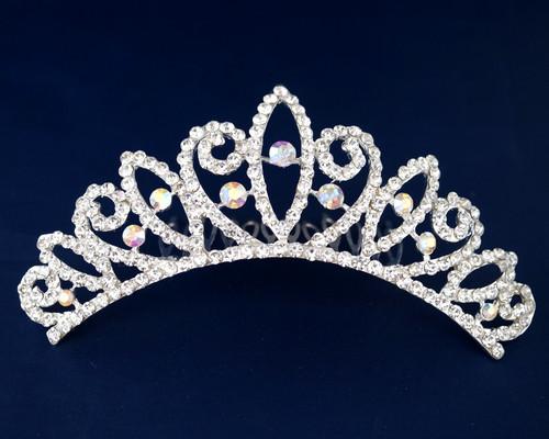 Iridescent Silver Crystal Rhinestone Tiara Hair Comb (TN113)