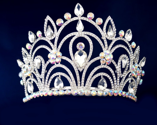 Irisdescent Silver Crystal Rhinestone Tiara (TV02)