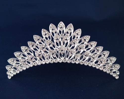 Silver Crystal Rhinestone Tiara (TM093)