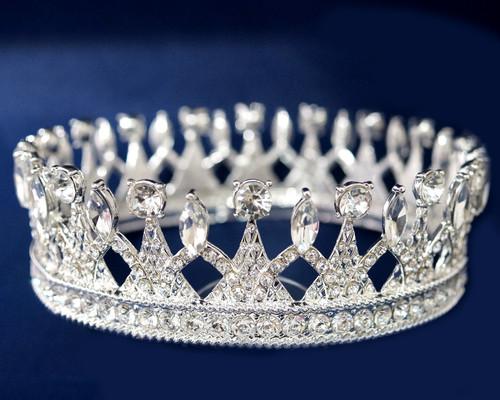 Silver Crystal Rhinestone King Crown  - Pack of 6 (TX010)