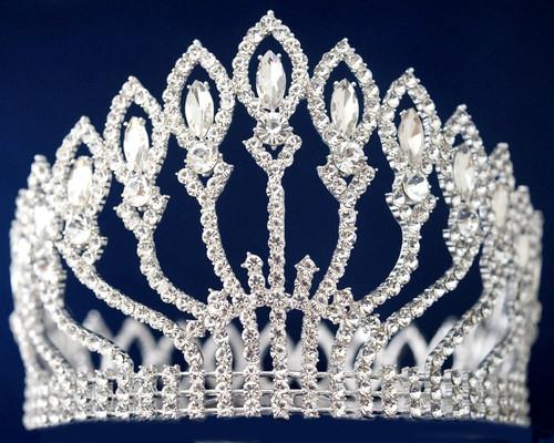 Silver Crystal Rhinestone Queen Crown (TY009)