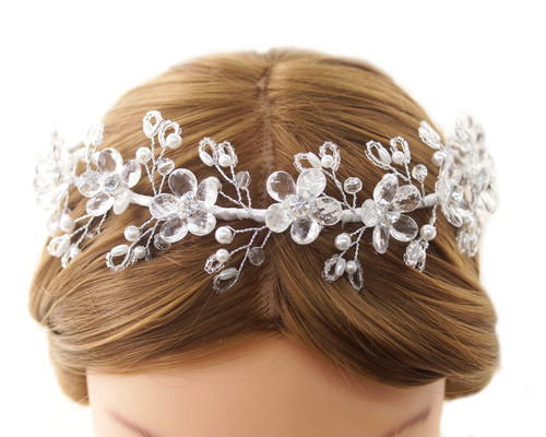 First Communion Headpiece with Acrylic Flower Blooms and Pearls (CHP477)