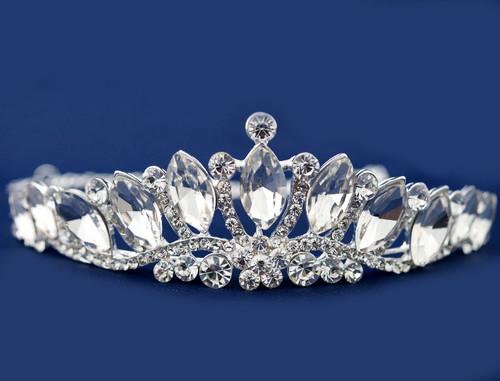 Silver Crystal Rhinestone Tiara  (TO022)