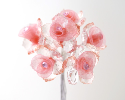 "1"" Coral Acrylic Organza Flower with Acrylic Leaves and Rhinestone - Pack of 72"