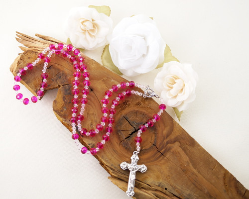 "17"" Fuchsia Crystal Rosary with Rondelle Faceted Glass Beads"