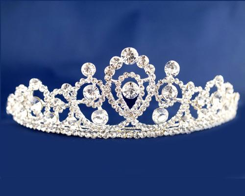 Silver Crystal Rhinestone Tiara (TN092)