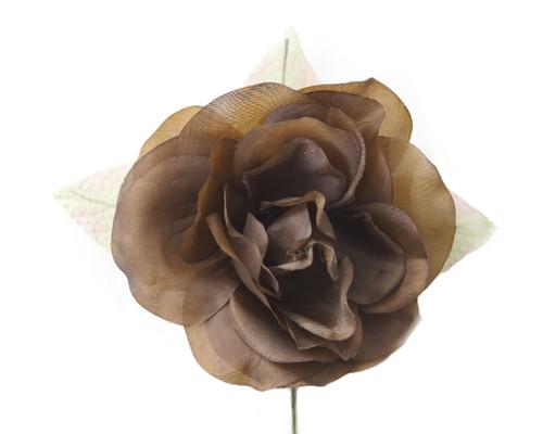 """5"""" Brown Single Rose Silk Flowers - Pack of 12"""