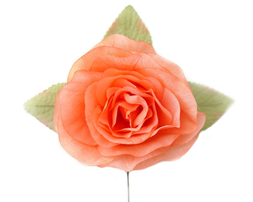 "5"" Coral Single Rose Silk Flowers - Pack of 12"