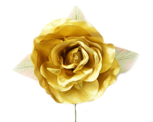 """5"""" Gold Single Rose Silk Flowers - Pack of 12"""