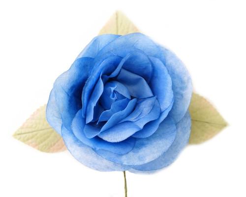 "5"" Royal Blue Single Rose Silk Flowers - Pack of 12"