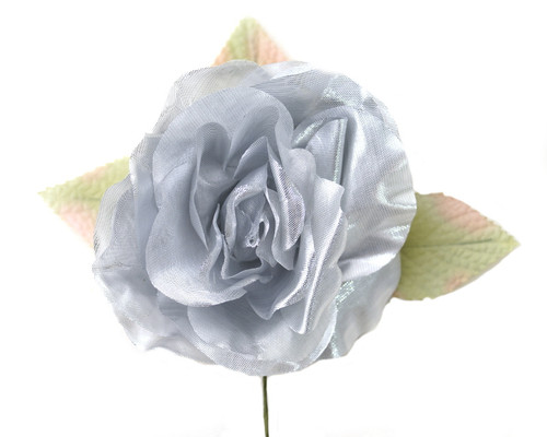 "5"" Silver Single Rose Silk Flowers - Pack of 12"
