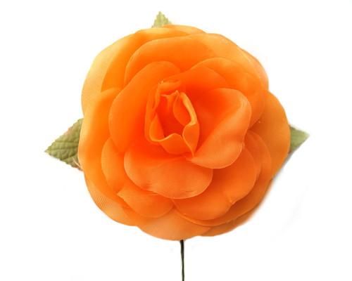 """5"""" Orange Single Rose Silk Flowers - Pack of 12"""