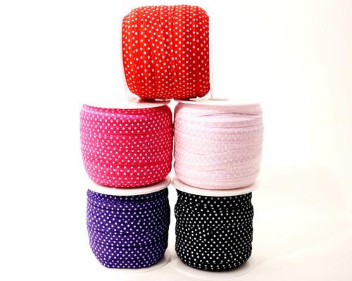 5/8 x 50 Yards Polka Dot Fold Over Elastic Sewing Trim