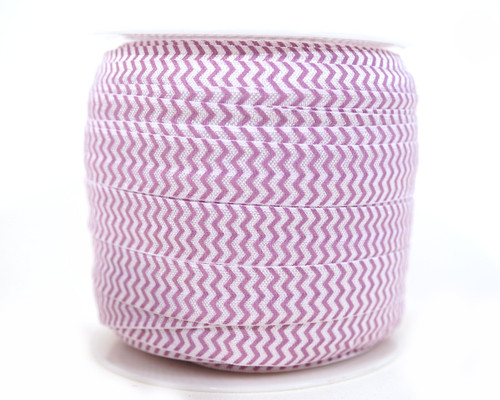 5/8 x 50 Yards Purple and White Chevron Fold Over Elastic Sewing Trim