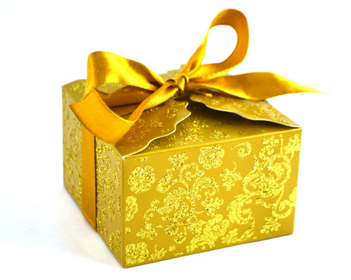 Gold Glitter Candy Favor Box with Satin Ribbon - Pack of 50
