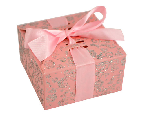 Pink Glitter Candy Favor Box with Satin Ribbon - Pack of 50