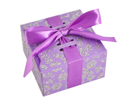 Purple Glitter Candy Favor Box with Satin Ribbon - Pack of 50