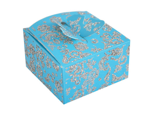Turquoise Butterfly Glitter Favor Box - Pack of 50