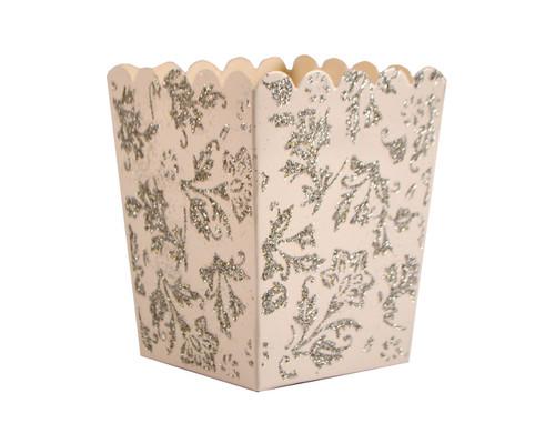 White Glitter Popcorn Favor Box - Pack of 50