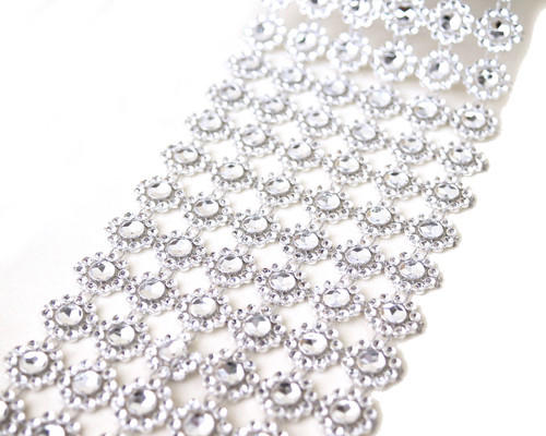 "4"" x 10 yards (30ft) Silver Flower Mesh Wrap"