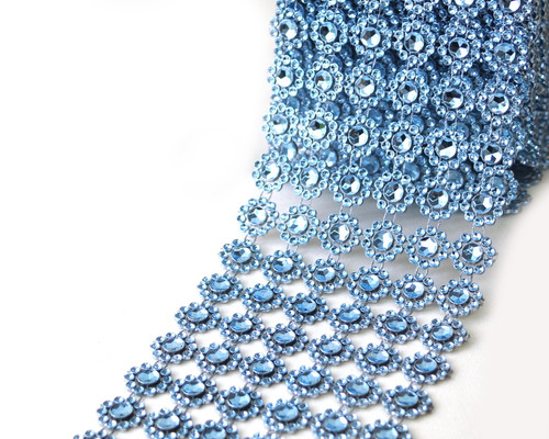 "4"" x 10 yards (30ft) Blue Flower Mesh Wrap"