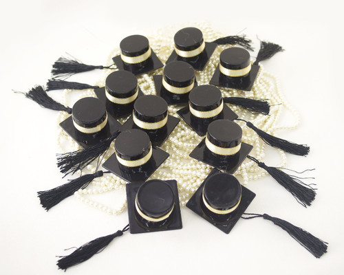 Black Graduation Party Hat Favor with Gold Ribbon - Pack of 12