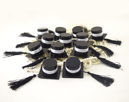 Black Graduation Party Hat Favor with Silver Ribbon - Pack of 12