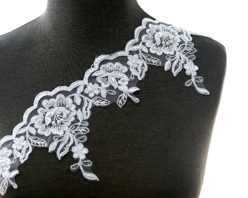 """4.5"""" x 15 Yards Floral  Embroidered Bridal Venice Lace with Pearls"""