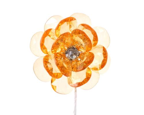 """2"""" Orange Acrylic Flowers with Rhinestone - Pack of 12"""