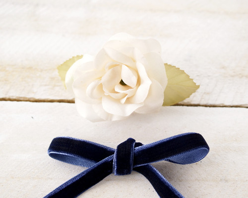 "3/8"" x 50 Yards Navy Blue Velvet Ribbon"
