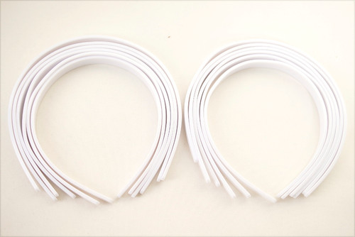 "1/4"" White Plastic Hair Headbands for Girls  - Pack of 72"
