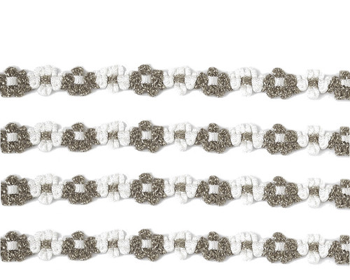 "3/8"" x 25 Yards Silver French Rococo Ribbon Trim - Pack of 5"
