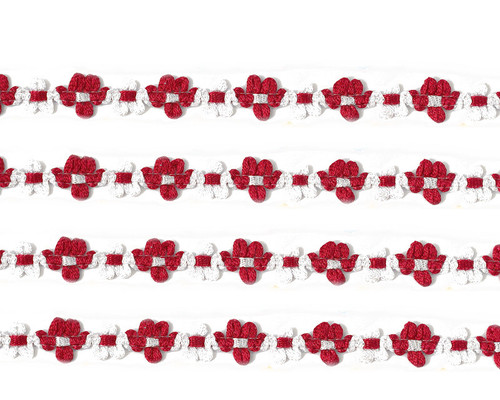 "3/8"" x 25 Yards Red French Rococo Ribbon Trim - Pack of 5"